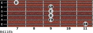 B6/11/Eb for guitar on frets 11, 9, 9, 9, 9, 7