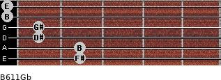 B6/11/Gb for guitar on frets 2, 2, 1, 1, 0, 0