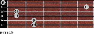 B6/11/Gb for guitar on frets 2, 2, 1, 1, 5, 0