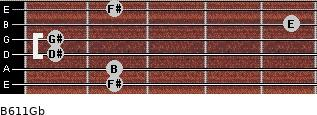 B6/11/Gb for guitar on frets 2, 2, 1, 1, 5, 2