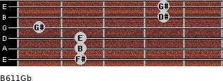 B6/11/Gb for guitar on frets 2, 2, 2, 1, 4, 4