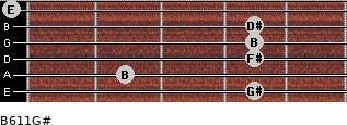 B6/11/G# for guitar on frets 4, 2, 4, 4, 4, 0