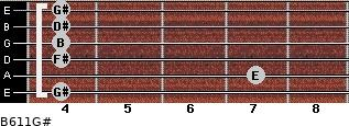B6/11/G# for guitar on frets 4, 7, 4, 4, 4, 4