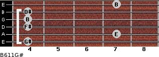 B6/11/G# for guitar on frets 4, 7, 4, 4, 4, 7