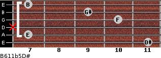 B6/11b5/D# for guitar on frets 11, 7, x, 10, 9, 7