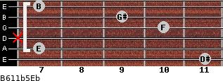 B6/11b5/Eb for guitar on frets 11, 7, x, 10, 9, 7