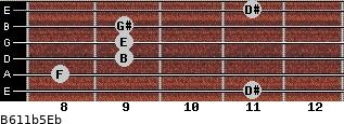B6/11b5/Eb for guitar on frets 11, 8, 9, 9, 9, 11