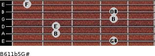 B6/11b5/G# for guitar on frets 4, 2, 2, 4, 4, 1
