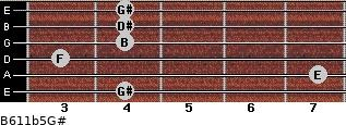 B6/11b5/G# for guitar on frets 4, 7, 3, 4, 4, 4