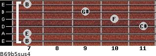 B6/9b5sus4 for guitar on frets 7, 7, 11, 10, 9, 7