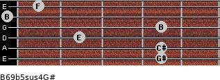 B6/9b5sus4/G# for guitar on frets 4, 4, 2, 4, 0, 1