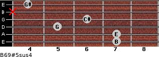 B6/9#5sus4 for guitar on frets 7, 7, 5, 6, x, 4