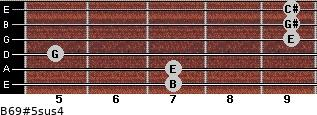 B6/9#5sus4 for guitar on frets 7, 7, 5, 9, 9, 9