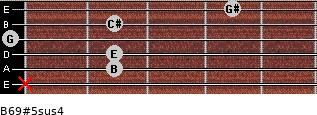 B6/9#5sus4 for guitar on frets x, 2, 2, 0, 2, 4