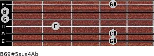 B6/9#5sus4/Ab for guitar on frets 4, 4, 2, 0, 0, 4