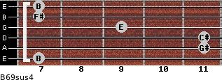 B6/9sus4 for guitar on frets 7, 11, 11, 9, 7, 7