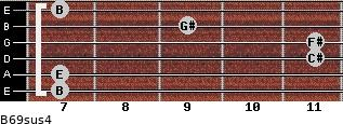 B6/9sus4 for guitar on frets 7, 7, 11, 11, 9, 7