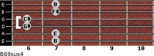 B6/9sus4 for guitar on frets 7, 7, 6, 6, 7, 7
