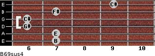 B6/9sus4 for guitar on frets 7, 7, 6, 6, 7, 9