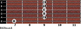 B6/9sus4 for guitar on frets 7, 9, 9, 9, 9, 9