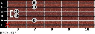 B6/9sus4/E for guitar on frets x, 7, 6, 6, 7, 7
