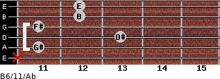 B6/11/Ab for guitar on frets x, 11, 13, 11, 12, 12