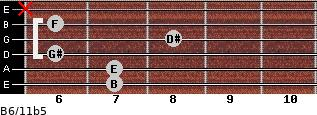 B6/11b5 for guitar on frets 7, 7, 6, 8, 6, x