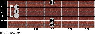 B6/11b5/D# for guitar on frets 11, 11, 9, 9, 9, 11