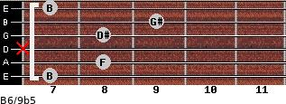 B6/9b5 for guitar on frets 7, 8, x, 8, 9, 7