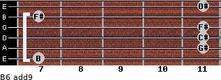 B6(add9) for guitar on frets 7, 11, 11, 11, 7, 11