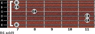 B6(add9) for guitar on frets 7, 11, 11, 8, 7, 7