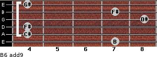B6(add9) for guitar on frets 7, 4, 4, 8, 7, 4