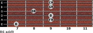 B6(add9) for guitar on frets 7, 9, 9, 8, 9, 9