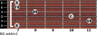 B6 add(m2) for guitar on frets 7, 11, 10, 8, 7, 7