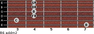 B6 add(m2) for guitar on frets 7, 3, 4, 4, 4, 4