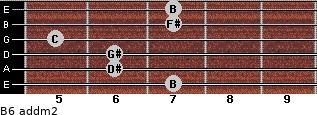 B6 add(m2) for guitar on frets 7, 6, 6, 5, 7, 7