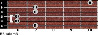 B6 add(m3) for guitar on frets 7, 6, 6, 7, 7, 10