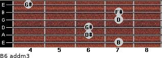 B6 add(m3) for guitar on frets 7, 6, 6, 7, 7, 4