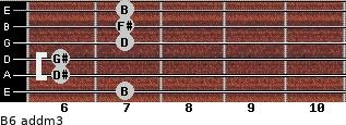 B6 add(m3) for guitar on frets 7, 6, 6, 7, 7, 7