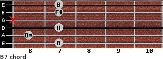 B7 for guitar on frets 7, 6, 7, x, 7, 7