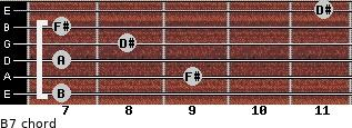 B7 for guitar on frets 7, 9, 7, 8, 7, 11