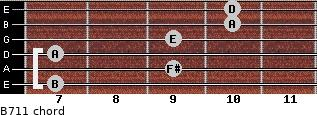 B-7/11 for guitar on frets 7, 9, 7, 9, 10, 10