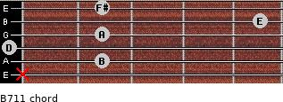 B-7/11 for guitar on frets x, 2, 0, 2, 5, 2