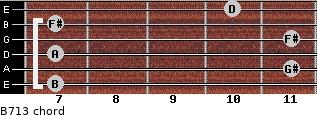 B-7/13 for guitar on frets 7, 11, 7, 11, 7, 10