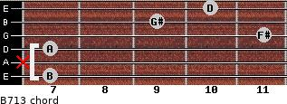 B-7/13 for guitar on frets 7, x, 7, 11, 9, 10