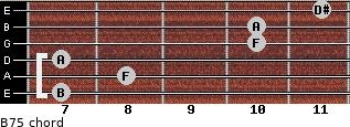 B7(-5) for guitar on frets 7, 8, 7, 10, 10, 11