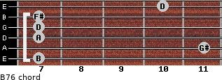 B-7/6 for guitar on frets 7, 11, 7, 7, 7, 10