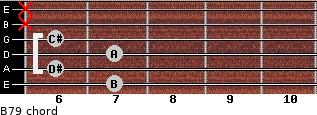 B7/9 for guitar on frets 7, 6, 7, 6, x, x