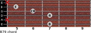 B7/9 for guitar on frets 7, x, 7, 6, 5, x