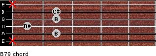 B7/9 for guitar on frets x, 2, 1, 2, 2, x